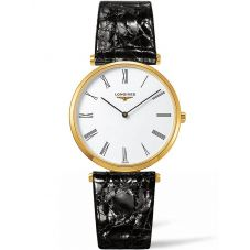 Longines Ladies La Grande Classique White Dial Black Leather Strap Watch L47552112