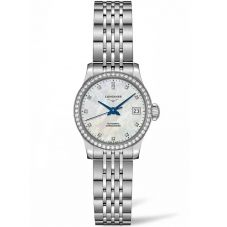Longines Ladies Record Diamond Set Mother Of Pearl Dial Bracelet Watch L23200876