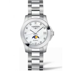 Longines Ladies Conquest Moonphase Diamond Set Mother Of Pearl Dial Bracelet Watch L33804876