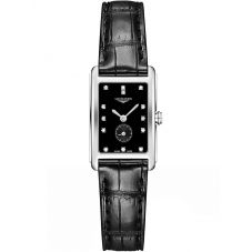 Longines Ladies DolceVita Diamond Set Black Dial Leather Strap Watch L52554570