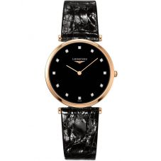 Longines Ladies La Grande Classique Diamond Set Black Dial Leather Strap Watch L47091572