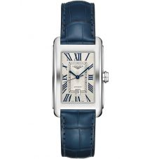 Longines Ladies DolceVita Silver Dial Blue Leather Strap Watch L57574719