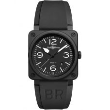 Bell & Ross Mens Instruments Aviation Black Ceramic Watch BR0392-BL-CE