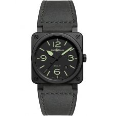 Bell & Ross Mens Instruments Aviation Nightlum Watch BR0392-BL3-CE/SCA