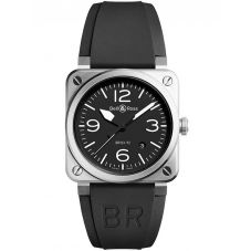 Bell & Ross Mens Instruments Aviation Steel Automatic Watch BR0392-BLC-ST
