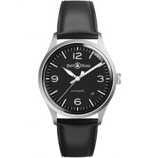 Bell & Ross Mens Vintage Black Steel Automatic Watch BRV192-BL-ST/SCA