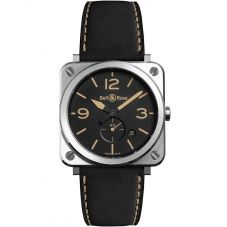 Bell & Ross Instruments Steel Heritage Black Leather Strap Watch BRS-HERI-ST/SCA
