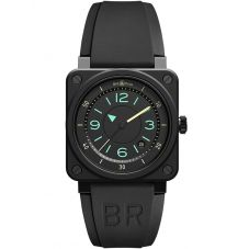 Bell & Ross BR 03-92 Bi-Compass Limited Edition Black Ceramic Rubber Strap Watch BR0392-IDC-CE/SRB