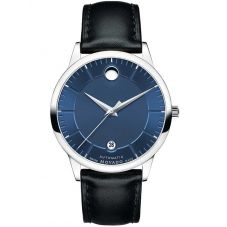 Movado Mens 1881 Automatic Blue Leather Strap Watch 0606874