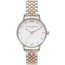 Olivia Burton Midi White, Rose Gold And Silver Bracelet Watch OB16MDW25
