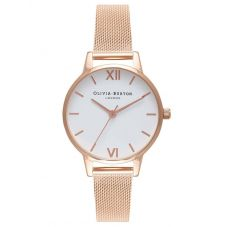 Olivia Burton White Dial Rose Gold Mesh Strap Watch OB16MDW01