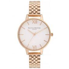 Olivia Burton White Dial Rose Gold Plated Bracelet Watch OB16DEW01