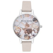 Olivia Burton Marble Florals Demi Dial Pearlescent Pink Leather Strap Watch OB16CS21