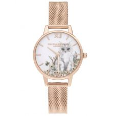 Olivia Burton Illustrated Animals Cat Midi Dial Rose Gold Plated Mesh Strap Watch OB16WL76