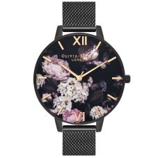 Olivia Burton Signature Florals Black IP Mesh Strap Watch OB16AD35