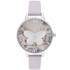 Olivia Burton 3D Butterfly Silver Dial Parma Violet Leather Strap Watch OB16PP58