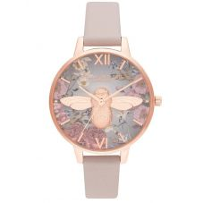 Olivia Burton British Blooms Rose Gold Plated 3D Bee Pink Strap Watch OB16EG134