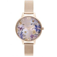 Olivia Burton Best In Show Rose Gold Plated Floral Dial  Mesh Strap Watch OB16EG141