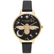 Olivia Burton Ramadan 3D Bee Gold Plated Black Leather Strap Watch OB16GD21