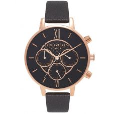 Olivia Burton Chrono Detail Dot Rose Gold Plated Black Dial Leather Strap Watch OB15CG44