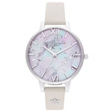 Olivia Burton Celestial Star Mother of Pearl Demi Dial Blush Leather Strap Watch OB16GD42