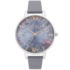 Olivia Burton Under The Sea Eco Friendly Silver and Deep Sea Blue Leather Look Strap Watch OB16US09