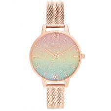 Olivia Burton Ladies RainBow Rose Gold Mesh Bracelet Glitt Dial Watch OB16RB18