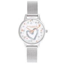 Olivia Burton You Have My Heart Rose Gold and Silver Mesh Strap Watch OB16LH12