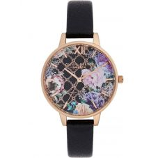 Olivia Burton Glasshouse Rose Gold Demi Dial Black Leather Strap Watch OB16GH11