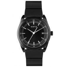 Wena Solar Three Hands Pro Black Dial Black Stainless Steel Bracelet Watch Bundle 25-17-006 + 29-57-002
