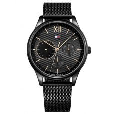 Tommy Hilfiger Damon Black Chronogaph Dial Black Mesh Strap Watch 1791420