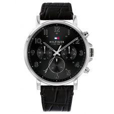 Tommy Hilfiger Daniel Black Chronograph Dial Leather Strap Watch 1710381