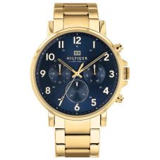 Tommy Hilfiger Daniel Gold Plated Dark Blue Chronograph Dial Bracelet Watch 1710384