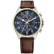 Tommy Hilfiger Dean Two Tone Blue Dial Brown Leather Strap Watch 1791275