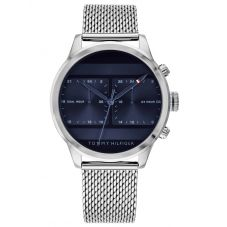 Tommy Hilfiger Icon Stainless Steel Dark Blue Dual Time Dial Mesh Strap Watch 1791596