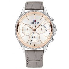 Tommy Hilfiger Ari Rose Gold Plated Two Tone Cubic Zirconia Set White Chronograph Dial Grey Leather Strap Watch 1781980