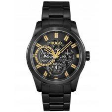 HUGO #Skeleton Black and Gold Dial Bracelet Watch 1530192