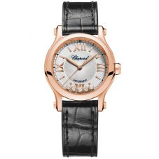 Chopard Happy Sport Rose-Gold Diamond Leather Watch 274893-5011