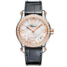 Chopard Happy Sport Rose-Gold Diamond Strap Watch 278559-6003