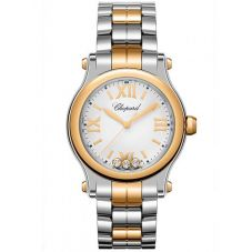 Chopard Happy Sport Silver and Rose-Gold Diamond Watch 278590-6002