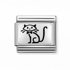 Nomination Oxidised Steel 'Family Cat' Charm 330109/53