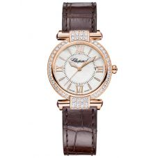 Chopard Imperiale Rose-Gold Brown Leather Diamond Watch 384238-5003