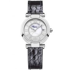 Chopard Imperiale Black Leather Mother of Pearl Watch 388563-3005