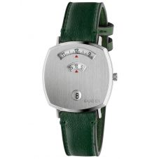 Gucci Grip Stainless Steel Covered Dial Green Leather Strap Watch YA157406