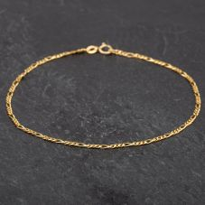 Second Hand 9ct Yellow Gold 3+1 Figaro Anklet 4101319