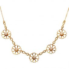 """Second Hand 9ct Gold 15"""" 13mm Freshwater Pearl Daisy Necklace 4102330"""