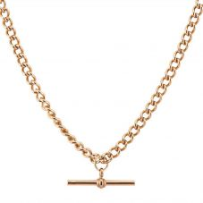 Second Hand 9ct Rose Gold T Bar Curb Chain Necklace