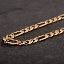 "Second Hand 9ct Yellow Gold 18"" 3+1 Figaro Chain HGM43/01/03(09/19)"