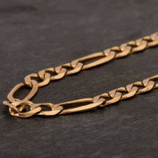 "Second Hand 9ct Yellow Gold 20"" 3+1 Figaro Chain HGM43/02/11(10/19)"