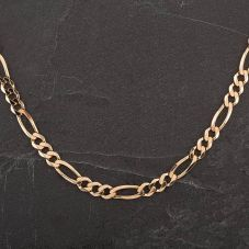 "Second Hand 9ct Yellow Gold 18"" 3+1 Figaro Necklace"